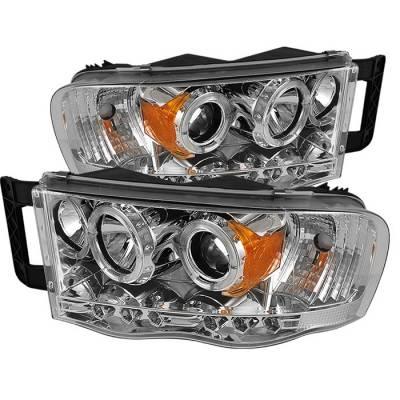 Spyder - Dodge Ram Spyder Projector Headlights - LED Halo - LED - Chrome - 444-DR02-HL-C