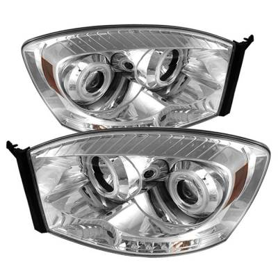 Spyder - Dodge Ram Spyder Projector Headlights - CCFL Halo - LED - Chrome - 444-DR06-CCFL-C