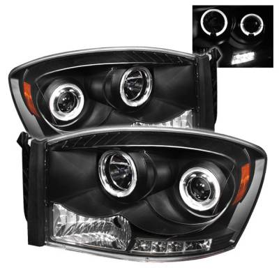Spyder - Dodge Ram Spyder Projector Headlights - LED Halo - LED - Black - 444-DR06-HL-BK