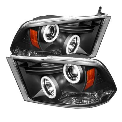 Spyder - Dodge Ram Spyder Projector Headlights CCFL Halo - LED - Black - 444-DR09-CCFL-BK