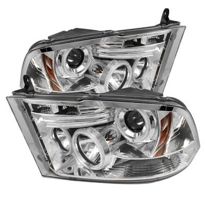 Spyder - Dodge Ram Spyder Projector Headlights CCFL Halo - LED - Chrome - 444-DR09-CCFL-C