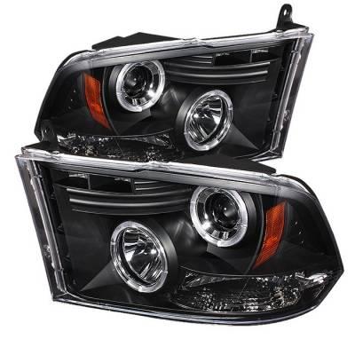 Spyder - Dodge Ram Spyder Projector Headlights LED Halo - LED - Black - 444-DR09-HL-BK