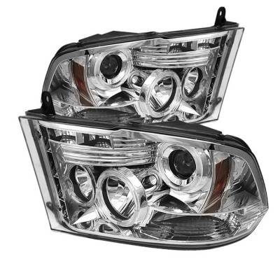 Spyder - Dodge Ram Spyder Projector Headlights LED Halo - LED - Chrome - 444-DR09-HL-C