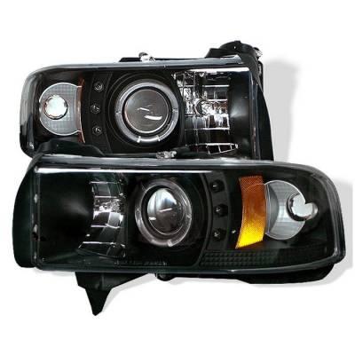 Spyder - Dodge Ram Spyder Projector Headlights - CCFL Halo - LED - Black - 444-DR94-CCFL-BK