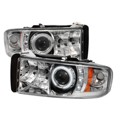 Spyder - Dodge Ram Spyder Projector Headlights - CCFL Halo - LED - Chrome - 444-DR94-CCFL-C
