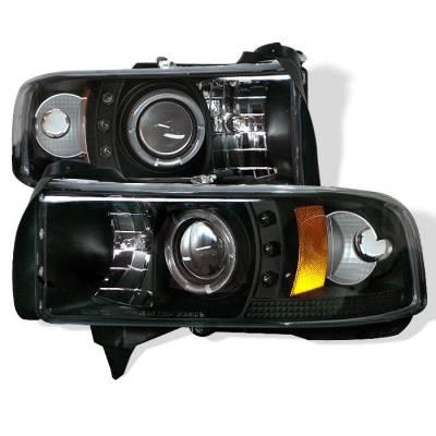 Spyder - Dodge Ram Spyder Projector Headlights - LED Halo - LED - Black - 444-DR94-HL-AM-BK