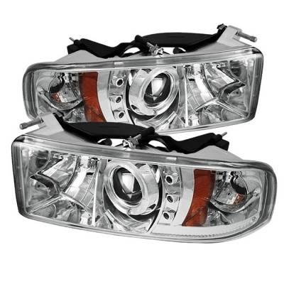 Spyder - Dodge Ram Spyder Projector Headlights - LED Halo - LED - Chrome - 444-DR94-HL-AM-C