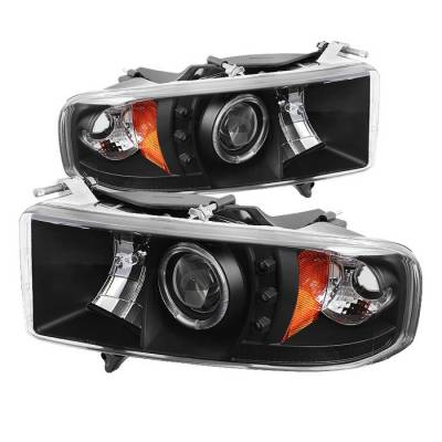 Spyder - Dodge Ram Spyder Projector Headlights - LED Halo - LED - Black - 444-DR99-SP-HL-AM-BK