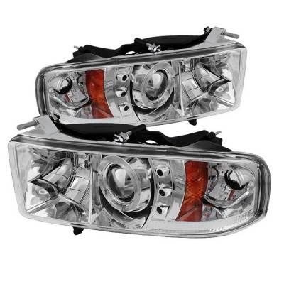 Spyder - Dodge Ram Spyder Projector Headlights - LED Halo - LED - Chrome - 444-DR99-SP-HL-AM-C