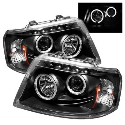 Spyder - Ford Expedition Spyder Projector Headlights - LED Halo - LED - Black - 444-FE03-HL-BK