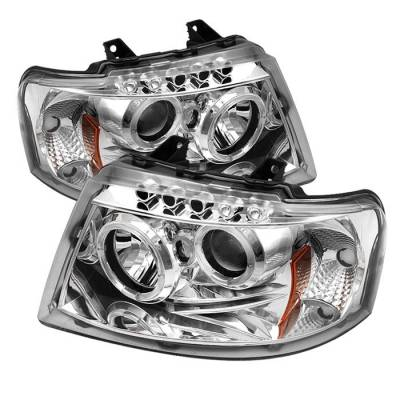 Spyder - Ford Expedition Spyder Projector Headlights - LED Halo - LED - Chrome - 444-FE03-HL-C