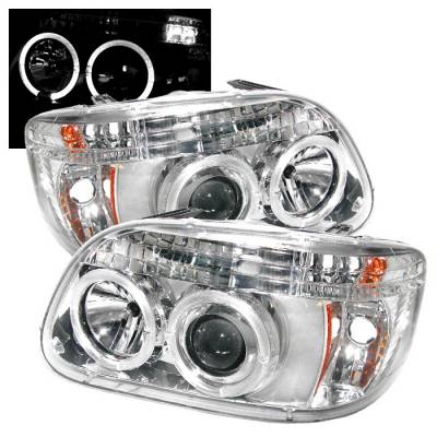 Spyder - Ford Explorer Spyder Projector Headlights - LED Halo - Chrome - 1PC - 444-FEXP95-HL-1PC-C