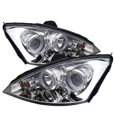 Spyder - Ford Focus Spyder Projector Headlights - LED Halo - Black - 444-FF00-HL-C
