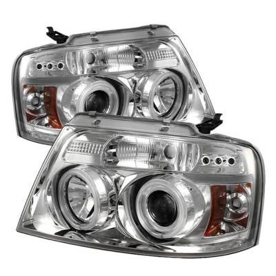 Spyder - Ford F150 Spyder Projector Headlights - Version 2 - CCFL Halo - LED - Chrome - 444-FF15004-CCFL-G2-C