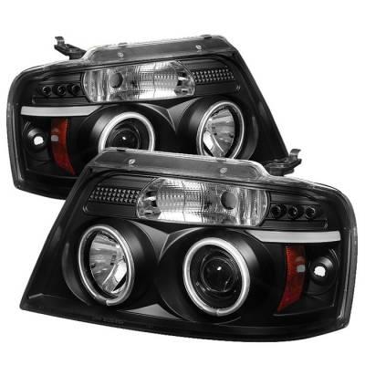 Spyder - Ford F150 Spyder Projector Headlights - Version 2 - Halo - LED - Black - 444-FF15004--G2-BK