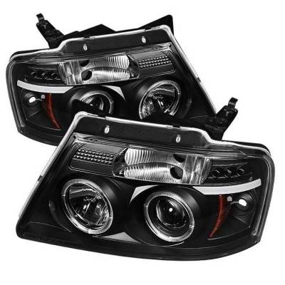 Spyder - Ford F150 Spyder Projector Headlights - Version 2 - LED Halo - LED - Black - 444-FF15004-HL-G2-BK