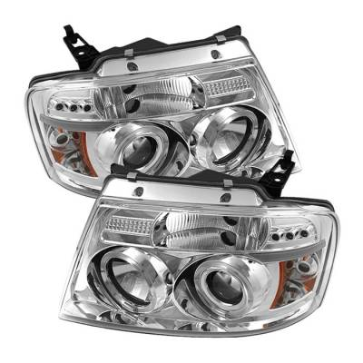 Spyder - Ford F150 Spyder Projector Headlights - Version 2 - LED Halo - LED - Chrome - 444-FF15004-HL-G2-C