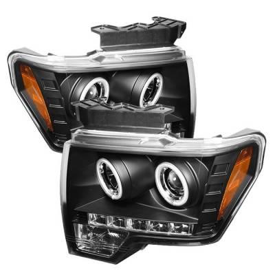Spyder - Ford F150 Spyder Projector Headlights CCFL Halo - LED - Black - 444-FF15009-CCFL-BK