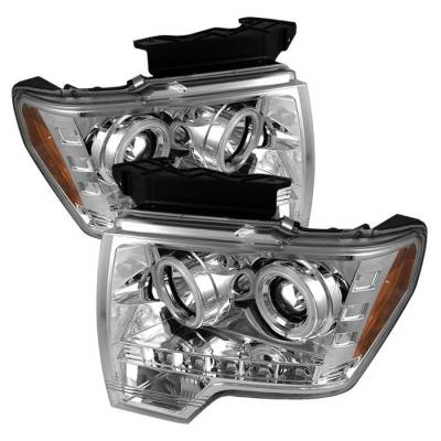 Spyder - Ford F150 Spyder Projector Headlights CCFL Halo - LED - Chrome - 444-FF15009-CCFL-C