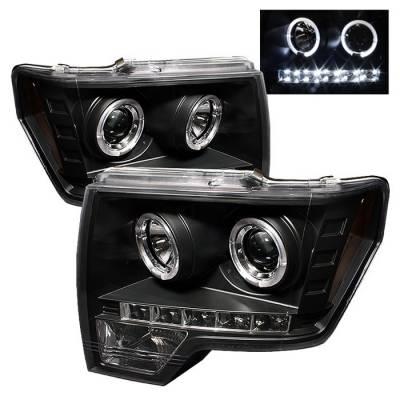 Spyder - Ford F150 Spyder Projector Headlights LED Halo - LED - Black - 444-FF15009-HL-BK