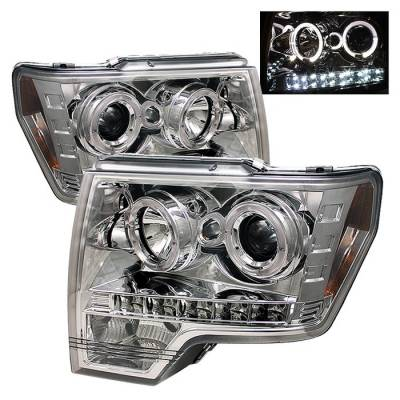 Spyder - Ford F150 Spyder Projector Headlights LED Halo - LED - Chrome - 444-FF15009-HL-C