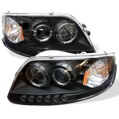 Spyder - Ford F150 Spyder Projector Headlights - LED Halo - Amber Reflector - LED - Black - 1PC - 444-FF15097-1P-AM-BK
