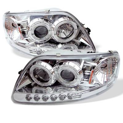 Spyder - Ford F150 Spyder Projector Headlights - LED Halo - Amber Reflector - LED - Chome - 1PC - 444-FF15097-1P-AM-C