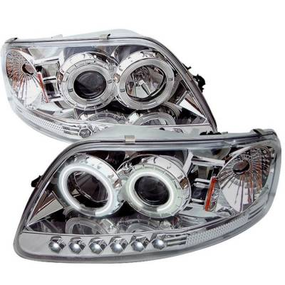 Spyder - Ford F150 Spyder Projector Headlights - CCFL Halo - LED - Chome - 1PC - 444-FF15097-1P-CCFL-C