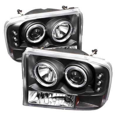 Spyder - Ford F250 Superduty Spyder Projector Headlights - Version 2 - LED Halo - LED - Black - 444-FF25099-1P-G2-BK