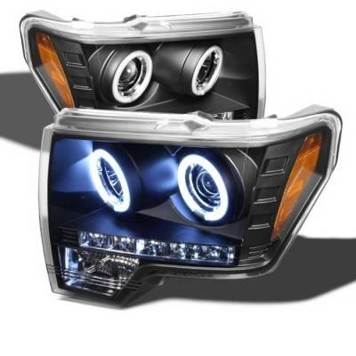 Spyder Auto - Ford F150 Spyder CCFL LED Projector Headlights - Black - 444-FF25099-1P-G2-CCFL-BK