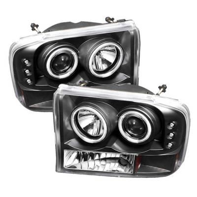 Spyder - Ford F250 Superduty Spyder Projector Headlights - Version 2 - CCFL Halo - LED - Black - 444-FF25099-1P-G2-CCFL-BK