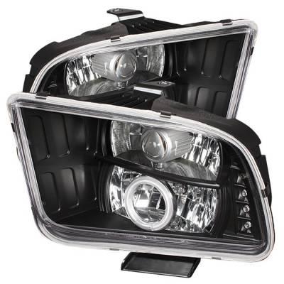 Spyder - Ford Mustang Spyder Projector Headlights CCFL Halo - LED - Black - 444-FM05-CCFL-BK