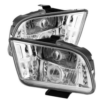 Spyder - Ford Mustang Spyder Projector Headlights CCFL Halo - LED - Chrome - 444-FM05-CCFL-C