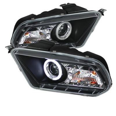 Spyder - Ford Mustang Spyder Projector Headlights CCFL Halo - DRL - Black - 444-FM2010-CCFL-DRL-BK