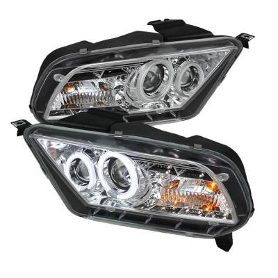 Spyder - Ford Mustang Spyder Projector Headlights CCFL Halo - DRL - Chrome - 444-FM2010-CCFL-DRL-C