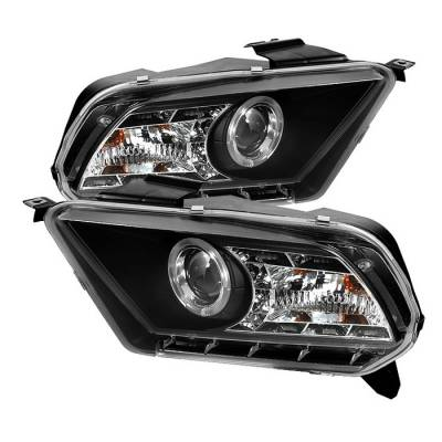 Spyder - Ford Mustang Spyder Projector Headlights LED Halo - DRL - Black - 444-FM2010-DRL-BK