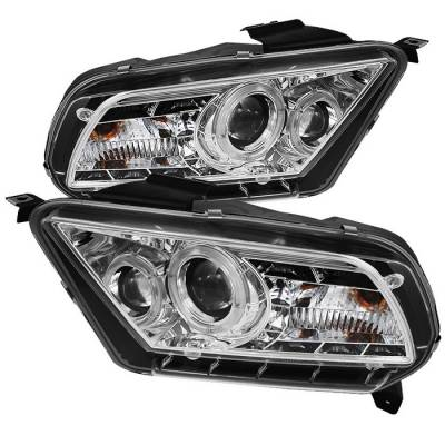 Spyder - Ford Mustang Spyder Projector Headlights LED Halo - DRL - Chrome - 444-FM2010-DRL-C