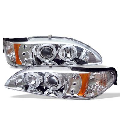 Spyder - Ford Mustang Spyder Projector Headlights - LED Halo - Amber Reflector - LED - Chrome - 1PC - 444-FM94-1PC-AM-C