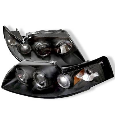 Spyder - Ford Mustang Spyder Projector Headlights - LED Halo - Black - 444-FM99-1PC-AM-BK