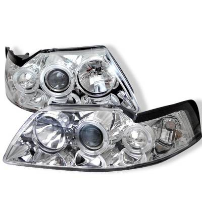Spyder - Ford Mustang Spyder Projector Headlights - LED Halo - Chrome - 444-FM99-1PC-AM-C