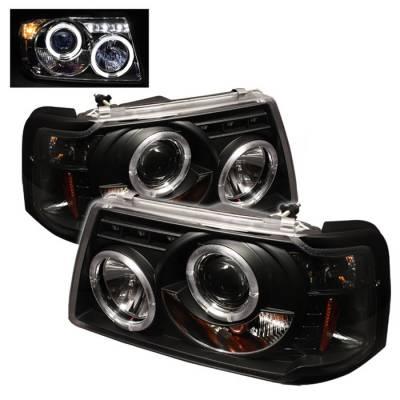 Spyder - Ford Ranger Spyder Projector Headlights - LED Halo - LED - Black - 1PC - 444-FR01-1PC-HL-BK