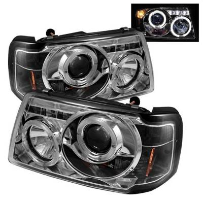 Spyder - Ford Ranger Spyder Projector Headlights - LED Halo - LED - Chrome - 1PC - 444-FR01-1PC-HL-C