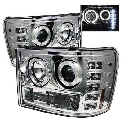 Spyder - GMC Sierra Spyder Projector Headlights - LED Halo - LED - Chrome - 444-GS07-HL-C