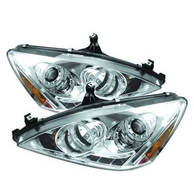 Spyder - Honda Accord Spyder Projector Headlights - LED Halo - Amber Reflector - LED - Chrome - 444-HA03-AM-C