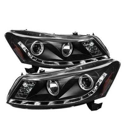 Spyder - Honda Accord 4DR Spyder Projector Headlights - DRL - Black - 444-HA08-4D-DRL-BK