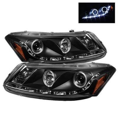 Spyder - Honda Accord 4DR Spyder Projector Headlights - LED Halo - DRL - Black - 444-HA08-4D-HL-BK