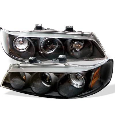 Spyder - Honda Accord Spyder Projector Headlights - LED Halo - Amber Reflector - Black - 1PC - 444-HA94-AM-BK