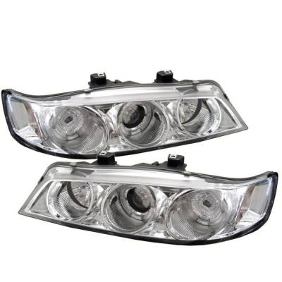 Spyder - Honda Accord Spyder Projector Headlights - LED Halo - Amber Reflector - Chrome - 1PC - 444-HA94-AM-C