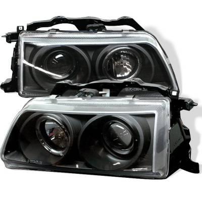 Spyder - Honda CRX Spyder Projector Headlights - LED Halo - Black - 444-HC90-HL-BK