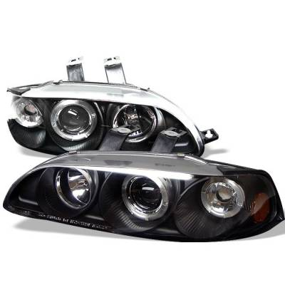 Spyder - Honda Civic 2DR & 3DR Spyder Projector Headlights - LED Halo - Amber Reflector - Black - 1PC - 444-HC921P-23D-AM-BK